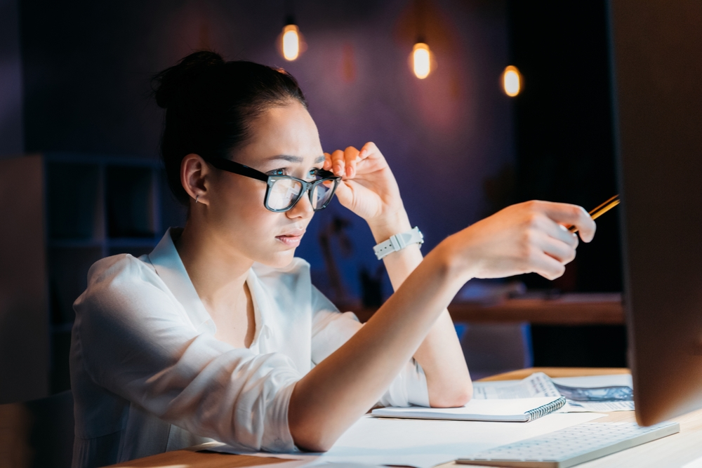 Businesswoman working late in an office